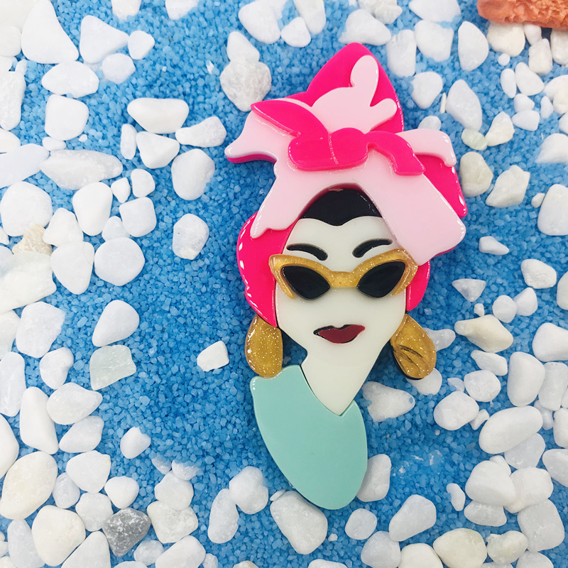 SexeMara New Fashion Acrylic Ethnic Girl Brooch Badge Colorful Exaggerate Headwear Personality Figure Brooch Pins For Women Gift in Brooches from Jewelry Accessories