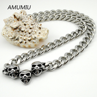 AMUMIU Cool Exaggerated Gothic Male Necklaces Vintage Steel Skull Skeleton Necklace For Men Link Chain Punk