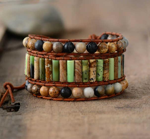צמיד צמידי צינור צורת טבעי אבנים 3 שורה עור גלישת צמיד חצי יקר אבן נשים חרוזים צמיד Dropshipping