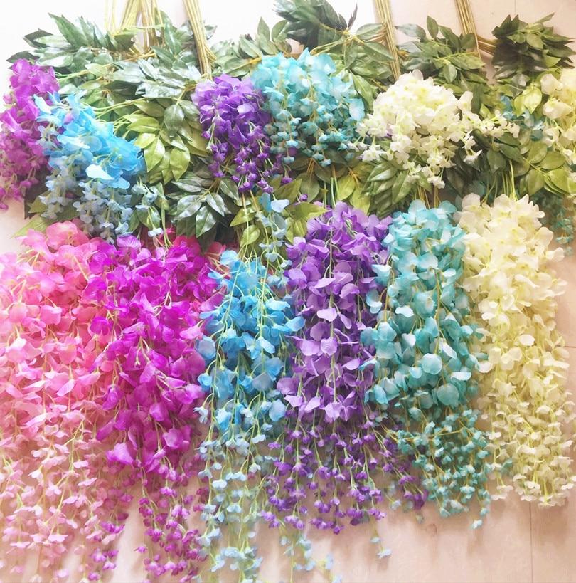 Wisteria videiras 12 pcs 105 cm guirlandas de flores artificiais - Para feriados e festas