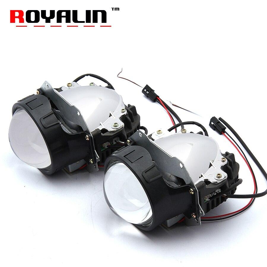 ROYALIN Car Styling Universal Bi LED Projecteur Phares Lentille Avec Puce 3.0 pouces Faisceau Haut et Bas Auto Projecteur Lumière rénovation