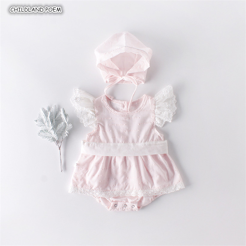 Newborn Baby   Romper   Summer Lace Princess Baby Girl Clothes With Hat Infant Baby Jumpsuit Birthday party Baby Clothes Sunsuit