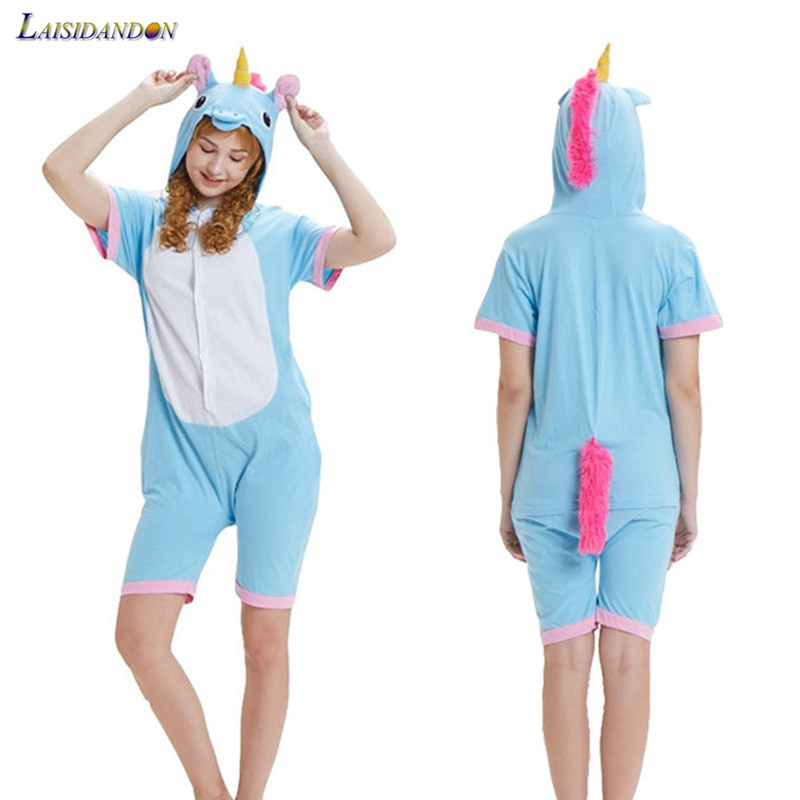 Onesie Animal Unicorn Pajamas Cartoon Sleepwear Women Unisex Cotton Sleepwear Stitch Panda Tigger Home Clothing Onepiece Adult