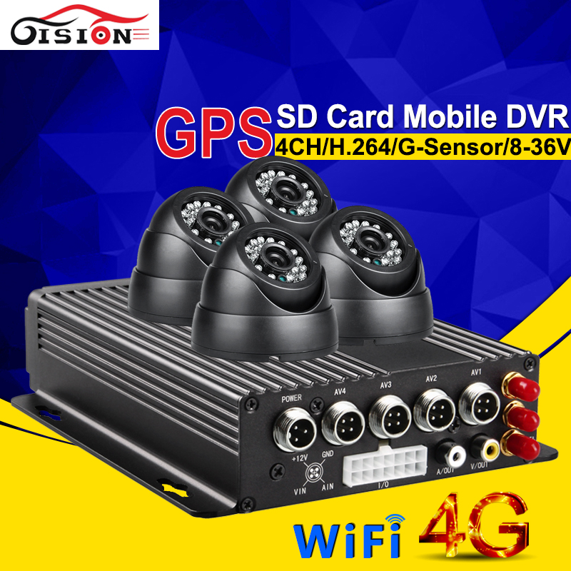 4G GPS Wifi Security Surveillance System Car Dvr 4CH Video Input Camera Recorder Support G-sensor Motion Detection Cycle Record