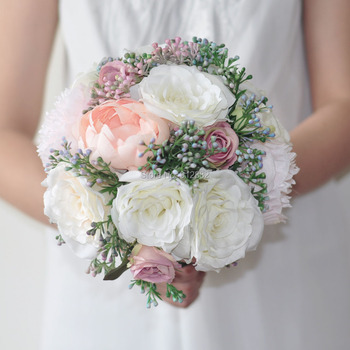 2018 spring Rustic silk Peony Rose and greenery  flower arrangement for wedding  bouquet and home decoration