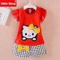 Meninas roupas de verão 2016 novas roupas de crianças meninas hello kitty roupas da menina da criança set roupas crianças dos desenhos animados algodão t570