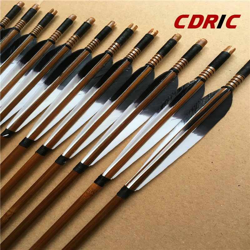 6/12/24pcs  Handmade Bamboo Arrows Turkey Feather For Longbow  Recurve Bow Archery Hunting