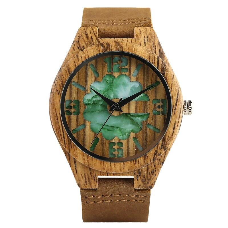 Men Wristwatch Craving Leather-Band Clock Quartz Wood Bamboo Unique Relogio Flower Marble-Design