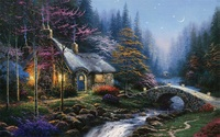Free shipping new arrival Thomas Kinkade reproduction prints canvas night cottage by river landscape painting