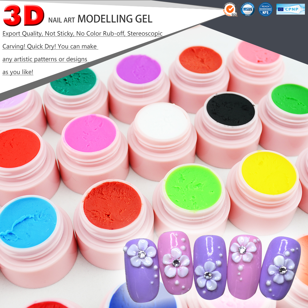 #40261 CANNI 3D Nail Art Beauty Painting Gel Carving Gel 24 Colors UV LED Modelling Gel 3d 12 candy colors glass fragments shape nail art sequins decals diy beauty salon tip free shipping