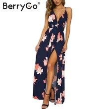 BerryGo Boho deep v neck backless long women dress Chiffon split cross lace up summer dress