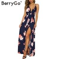 BerryGo Boho profondo scollo a v backless lungo vestito Chiffon delle donne split croce lace up summer dress Senza Maniche beach maxi dress vestidos