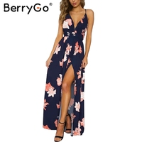 BerryGo Boho Deep V Neck Backless Long Dress Chiffon Split Cross Lace Up Summer Dress Sleeveless