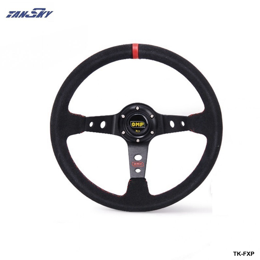 TANSKY -Steering Wheel 14 inch 350mm Racing Car Steering Wheel Suede Leather Drifting Steering Wheels TK-FXP-AF