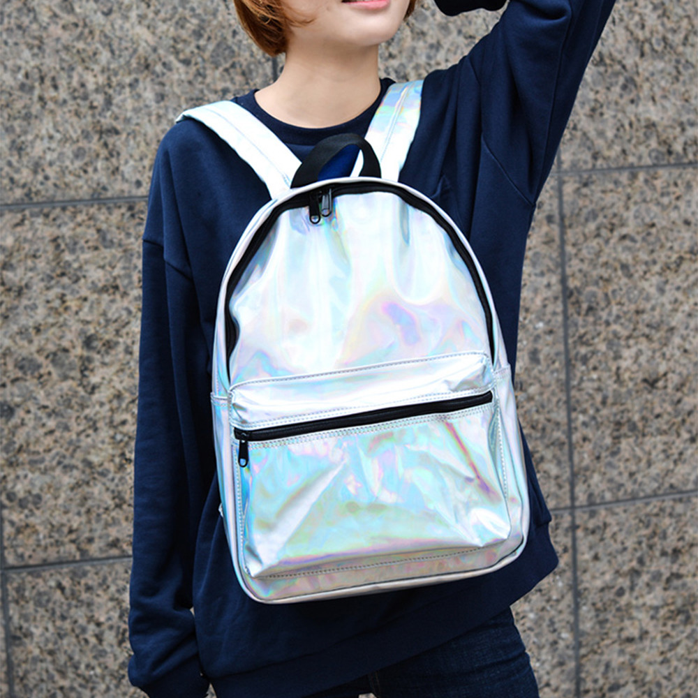Fashion Colour Laser Silver School Shoulder Bags Backpack Travel Rucksack High Quality unisex #147
