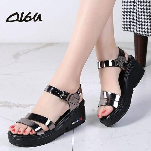 O16U NEW Summer women sandals platform wedges thick heel flat gladiator sandals ladies Shoes Patent PU Strap platform sandals Pakistan