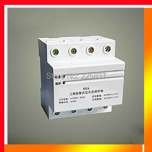 63a 3P high quality three phase four wire 380v automatic recovery household over under voltage DIN Rail protector free shipping transparent shell three phase four wire 4p earth leakage circuit breaker dz20le 250 4300 100a