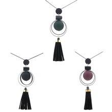 Women Necklace Long Necklaces & Pendants Wood Beads Sweater Necklace