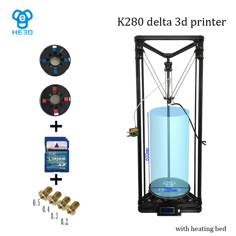 High precision HE3D K280 large size 280mm*600mm delta Auto- leveling single extruder DLT-K280 3D printer DIY kit with heatbed 2017 assembled jennyprinter3 z360ts dual extruder nozzle extended for ultimaker 2 um2 high precision auto leveling 3d printer