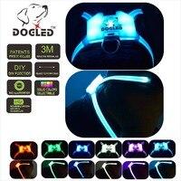 led dog harness dog lad multicolor 7 in 1 USB recharable led pet collar rainroof DIY dogharness large dog harness dog leash