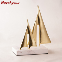 Gold sailboat decoration Stones home decor Nordic home decoration accessories modern marble room decoration