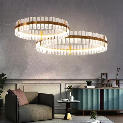 Lustre en cristal moderne LED lumières lustres en cristal rond européen lumières luminaire suspendu lampe de luxe éclairage intérieur de la maison