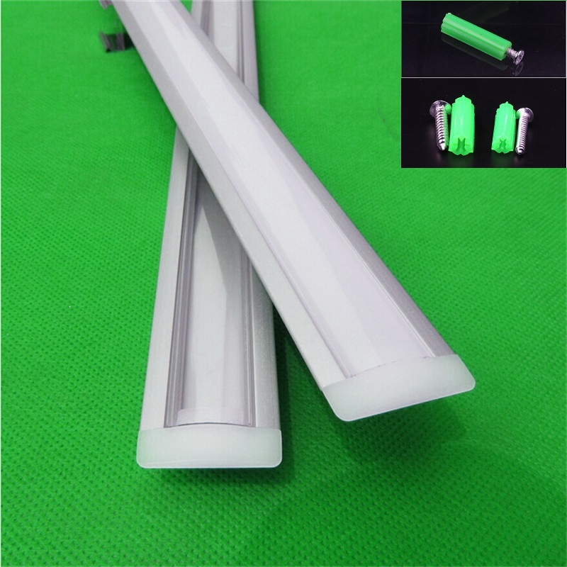 10X1M Tertanam profil aluminium untuk strip dipimpin, penutup susu / transparan untuk 12mm 5630 pcb, LED Bar light, tape light housing