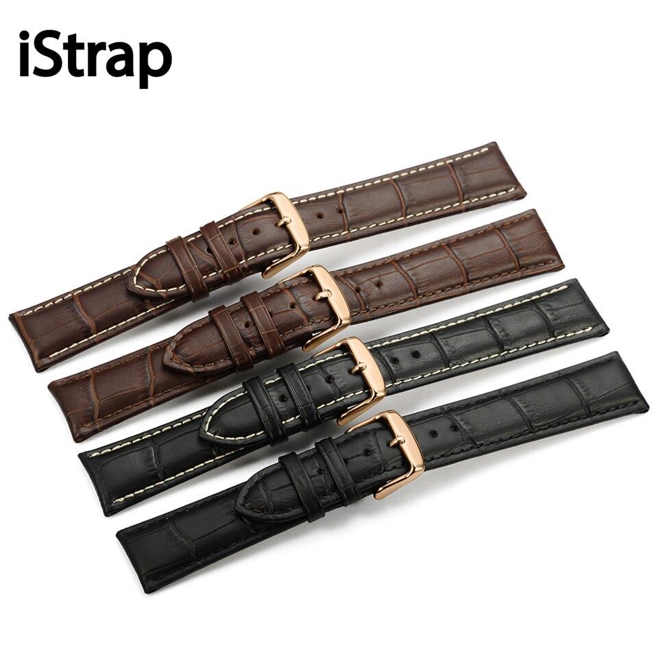 Prix pour Istrap 13 14 15 16 18 19 20 21 22 24mm rose or Boucle Bracelet En Cuir Noir Brun Montre bande Grain Alligator Bracelet pour tissot