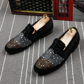 CuddlyIIPanda Luxury Men Fashion Rhinestone Loafers Spring Autumn Men Crystal Sneakers Slip on Men Punk Shoes Zapatos De Hombre