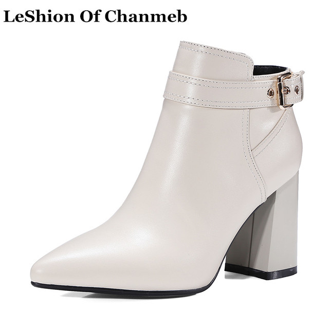 New Chic Thick High Heels White Ankle Boots for Women 2018 Autumn ...