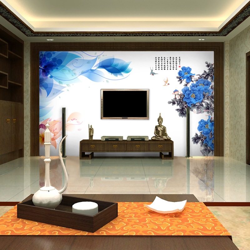 Aliexpress Buy Free Shipping Large Mural Chinese Three Dimensional Flowers Rich Living Room TV Movie Background Wallpaper Custom Size From Reliable