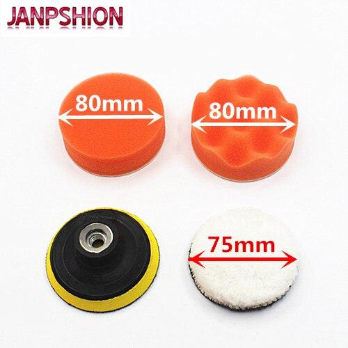 JANPSHION 4pc M10 / 75mm 3'' 80mm Sponge Polishing Waxing Buffing Pads Kit Compound Auto Car Paint Maintenance