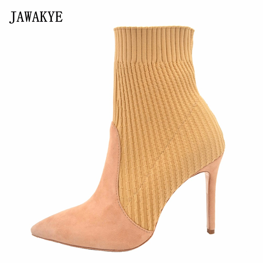 JAWAKYE Sexy Pointed Toe Wool Knitted Ankle Boots For Women Stiletto High Heels Shoes Woman Patchwork Sock Boots Botas Mujer black ankle boots women high heels pointed toe sexy snow boots woman shoes rivets zipper winter women boots botas mujer us35 40
