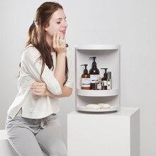 Multi-function Rotating Shelf Bathroom Kitchen Storage Rack Free Punching Suction Wall Storage Box Kitchen Organizer