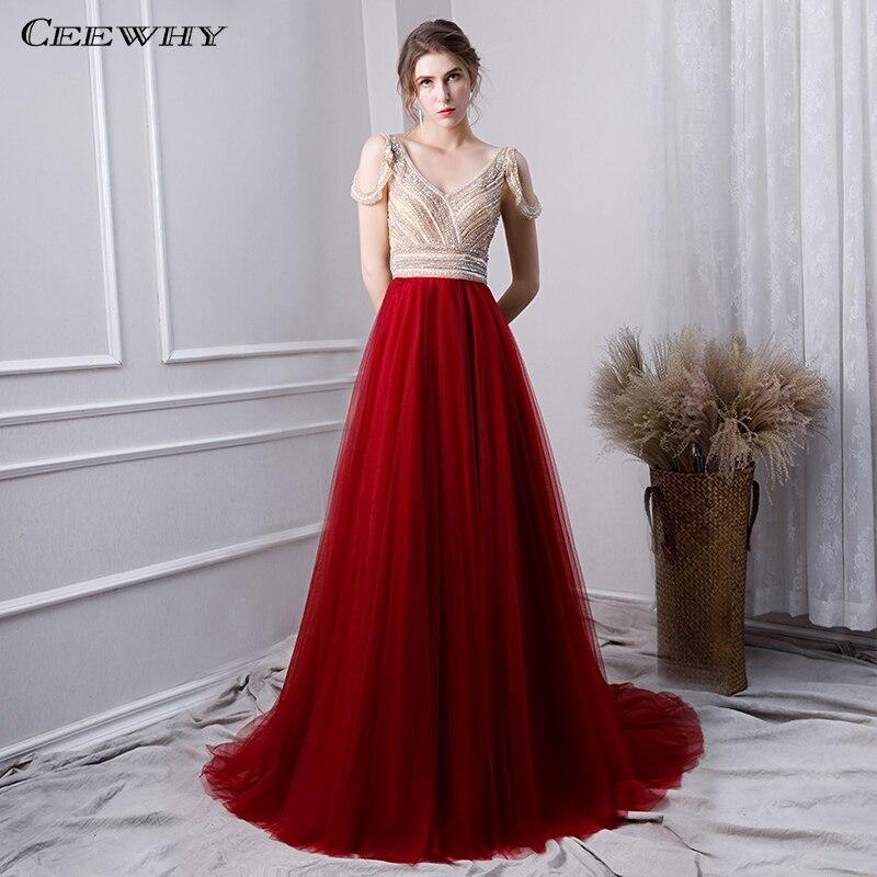 CEEWHY V-Neck Formal   Dress   Long   Evening     Dresses   Beaded Prom Gown Backless Abendkleider Dubai   Evening     Dress   Abiye Gece Elbisesi