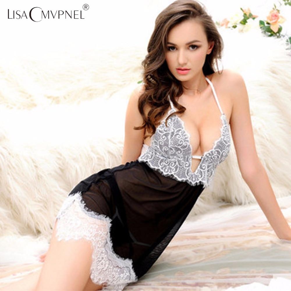 Lisacmvpnel Eyelash Lace Women Nightgown