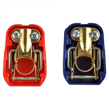 2PCS Auto Car 12V Car Battery Pull-up battery quick connector Battery pile head clip Battery terminal pair red and blue image