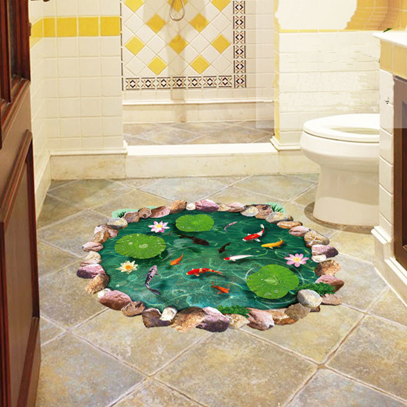 3D lotus pond Fish Floor sticker bathroom living room floor decoration mural for home decor wall decals wallpaper stickers