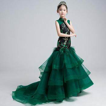 Chinese Style Children Girls Wedding Party Mermaid Dress With Trailing Emboridery Mesh Spliced Catwalk Gowns Kids Clothes Y1121