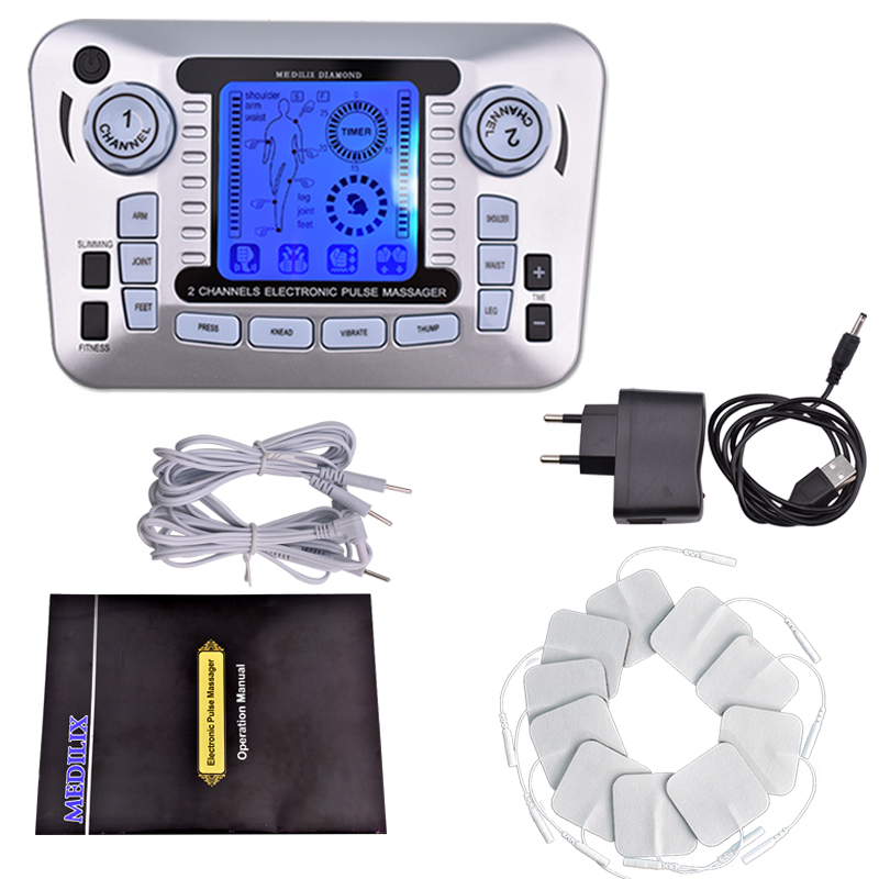 Electrical Muscle Stimulator Body Relax Therapy Massage Device Electric Pulse Tens Acupuncture Digital Meridian Massager 10 Pads 2017 full body massager pulse slimming muscle relax massage electric slim 4 pads jun30 15