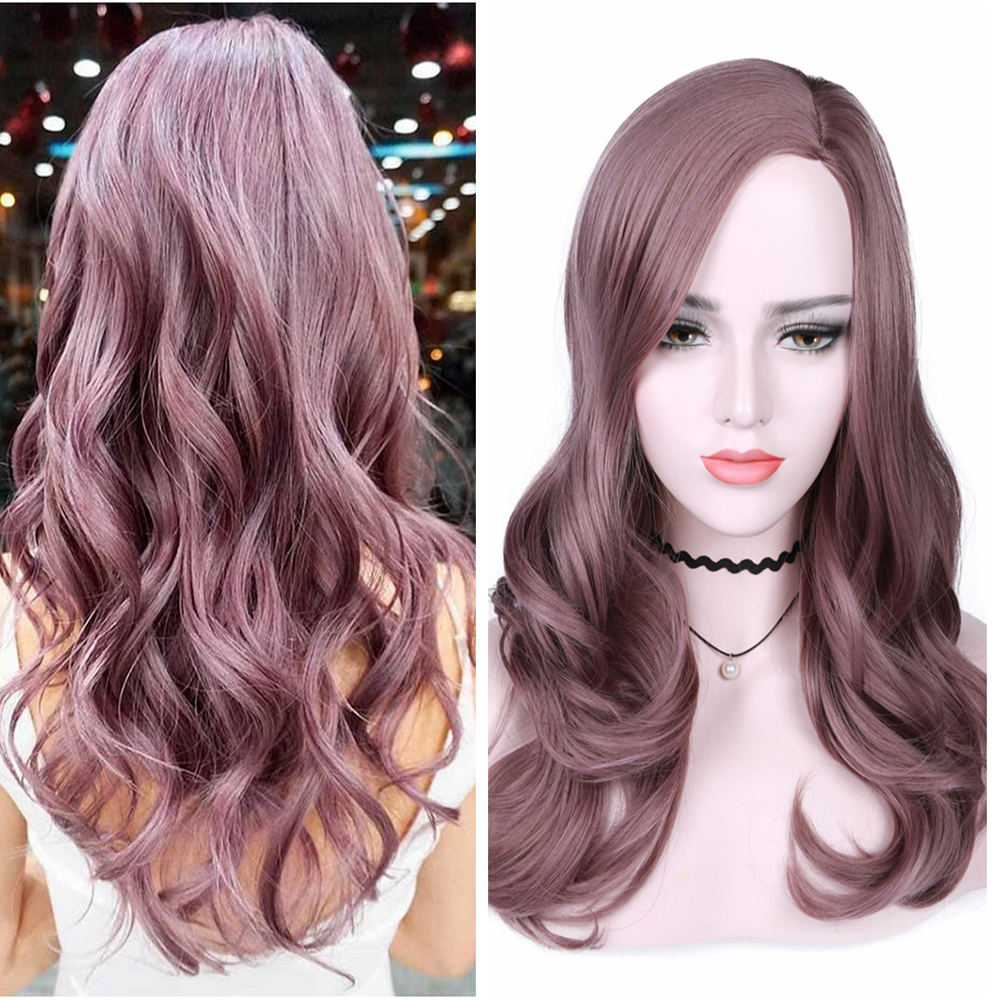 FAVE Long Wavy Side Part Bangs Mixed Grey Purple Heat Resistant Fiber 18