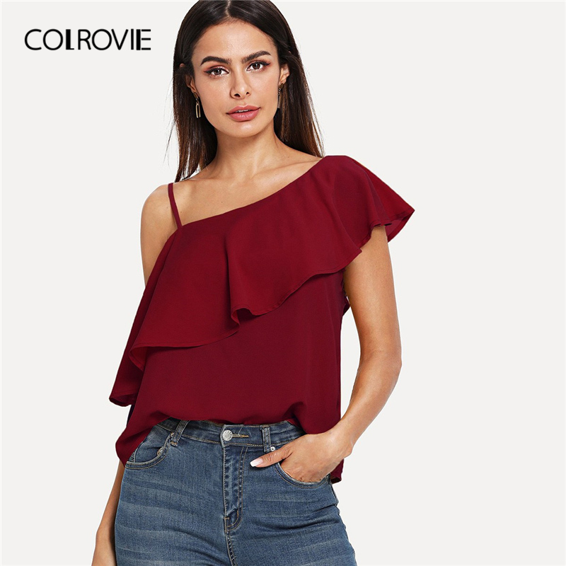 COLROVIE Burgundy Solid Asymmetrical Neck Ruffle Flounce Korean Fashion Blouse Shirt 2019 Summer Sleeveless Elegant Women Shirts