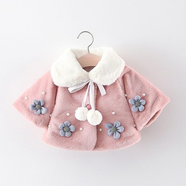 5d4cdec13 Warm Winter Baby Girls Infants Flower Beaded Faux Fur Balls Thicken ...