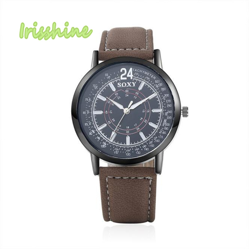Irisshine i0561 New Mens Stainless Steel Leather Band Analog Quartz Fashion Military Wrist Watch men watches gift
