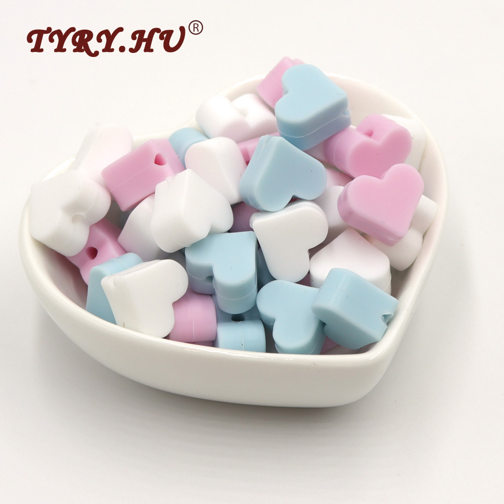 TYRY.HU BPA Free 25Pcs Heart Shaped Silicone Beads Food Grade Baby Mordedor para Baby Tooth Care Chewed Beads For Jewelry Making