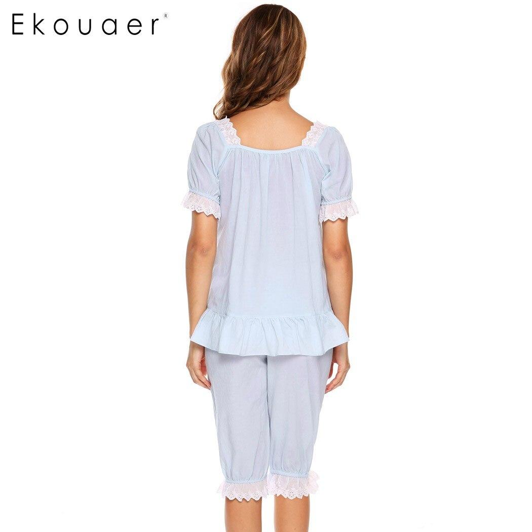 Ekouaer Lose Beiläufige Elastische Taille Spitze Patchwork Frauen Weiche Nachtwäsche Hosen Schlafhosen Unterwäsche & Schlafanzug