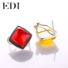 EDI Authentic 925 Sterling Silver Square Gemstone Clip Earring for Women Vintage Sterling Silver Jewelry Wedding Earrings Gift