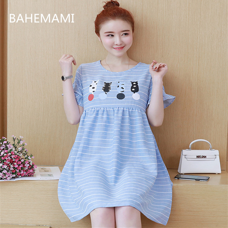 BAHEMAMI 2018 summer new dress pregnant women long short-sleeved striped dress maternity dress breastfeeding
