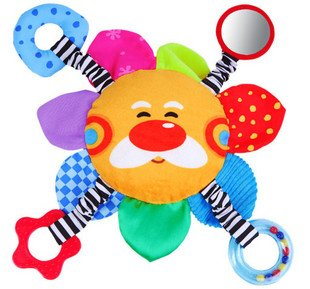 Candice guo! Super cute hot sale baby toys colorful sun shaped multifunctional hand hold doll toy 1pc