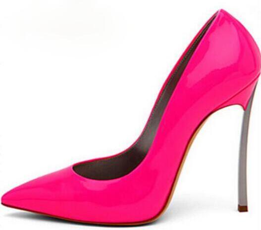 Cuir Verni Talons Sur Sexy 10cm Slip Bout Chaussures Talon Lame Mode Partie Hauts Chaude Dames Femmes 12cm Vente Nouvelle Pompes En Pointu Rose qHtx4f